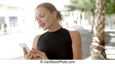 Pretty Business Woman Using Cell Phone, Slow Motion Video