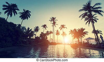 beach during an surrealistic sunset - Asian tropical beach...