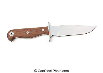hunting knife with wooden handle, isolated on white...
