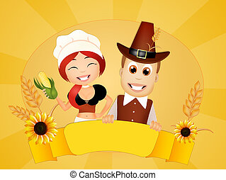 Thanksgiving couple - illustration of Thanksgiving couple