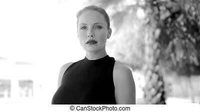 Black and White Portrait of Business Woman Standing in Slow...