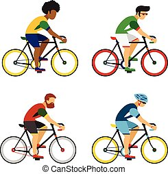 Cycling sport bicycle men icons set, road bike riders from different countries flat vector illustration.