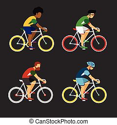 Cycling sport bicycle men icons set, road bike riders from...