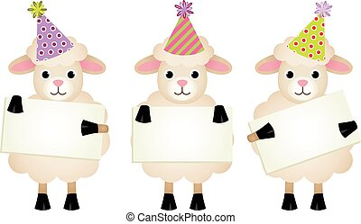 Birthday sheeps with signboards - Scalable vectorial image...