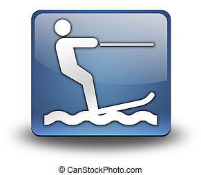 Icon, Button, Pictogram Water Skiing - Icon, Button,...
