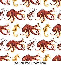 Seamless pattern on a theme of animals oceans and seas.