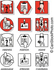 Line icons set of the agreements and meetings - Line icons...