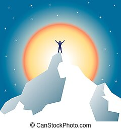 Businessman holding on top of mountain