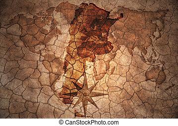 vintage argentina map - argentina map on vintage crack paper...