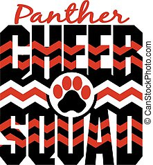 panther cheer squad with chevrons and paw print