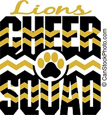 lions cheer squad with chevrons and paw print