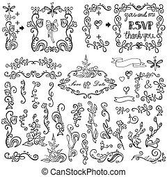 Doodles floral decor set.Borders,elements,Frame.Outline -...