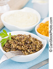Haggis, Neeps & Tatties - Traditional Scottish meal commonly...