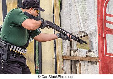Shotgun Shooting Training. Outdoor Shooting Range