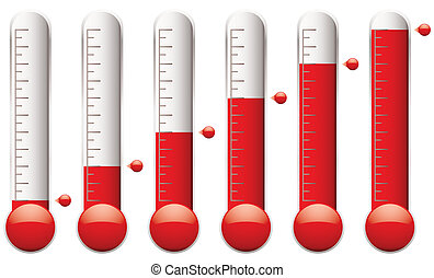 thermometer set - set of thermometers with different levels...