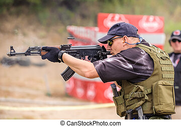 Submachine Gun. Shooting and Weapons Training. Outdoor...