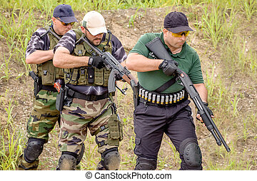 Tactical Training. Shooting and Weapons. Outdoor Shooting...