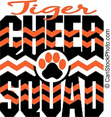 tiger cheer squad with chevrons and paw print