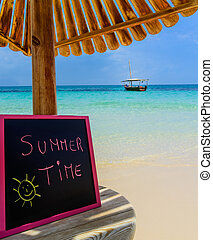 Summer Time blackboard - In the picture a Zanzibar beach...
