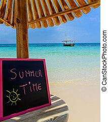 Summer Time blackboard - In the picture a Zanzibar beach...