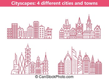 Four different cities and towns - Linear cityscapes Four...