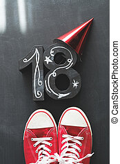 18th Birthday concept with sneakers - 18th Birthday party...