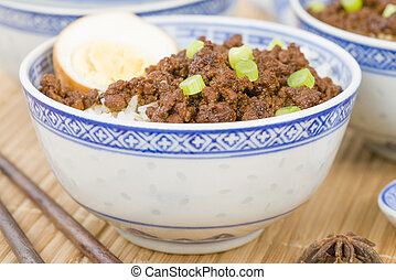 Lu Rou Fan (Taiwanese Braised Pork Rice Bowl) - Ground pork...