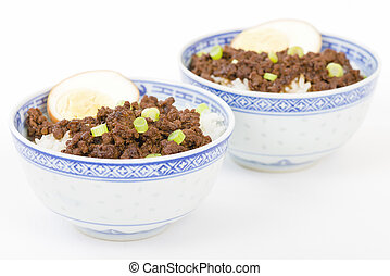 Lu Rou Fan Taiwanese Braised Pork Rice Bowl - Ground pork...