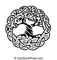 Celtic Tree of Life - Illustration of celtic tree of life,...