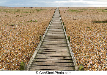 Wooden boardwalk, Dungeness - Converging wooden boardwalk,...