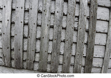 Criss-cross old grey planks - Crossing planks of wood Detail...