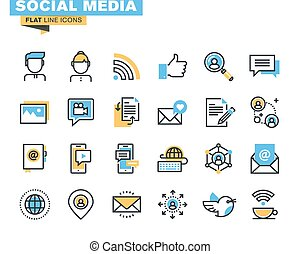 Flat line icons for social media