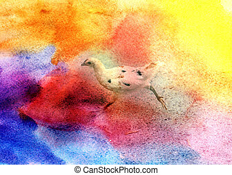 yellow chicken photographed close up - Watercolor beautiful...