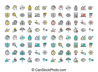 Flat line colorful icons collection of business strategy,...