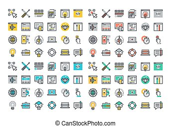 Flat line colorful icons collection of web design and...
