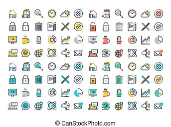 Flat line colorful icons collection of website main elements...