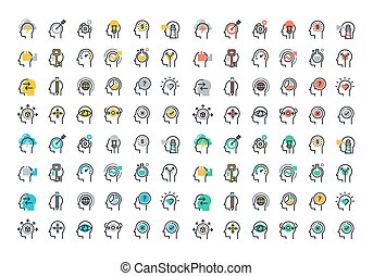 Flat line colorful icons collection of human brain process,...