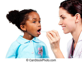 Smiling doctor taking little girl\'s temperature