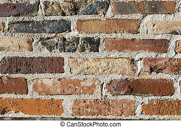 Weathered brick stone wall - Weathered old red ancient brick...