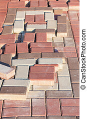 color paving slabs prepared for laying