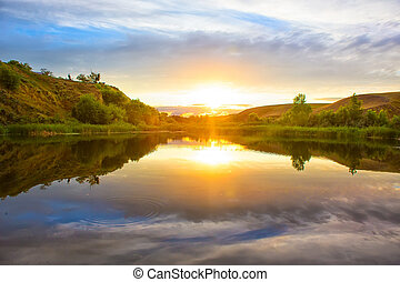 sunset on the Volga River Russia - beautiful sunset on the...