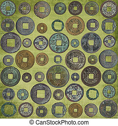 background of chinese coins - Set of the old Chinese coins
