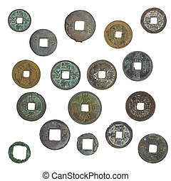 old Chinese coins - old, oxidized Chinese coins 1400-1900...