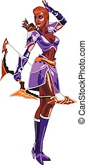 archer - girl Archer costume in purple with bow in hand on...