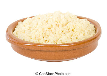 Couscous - Moroccan lemon couscous in a terracotta bowl