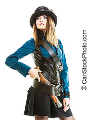 Cool girl in steampunk style - Young steampunk islolated...