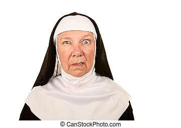 Funny Nun with Angry Expression on her Face