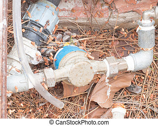 pump water junction Image of a water pump with blue junction...