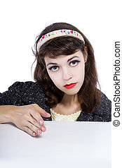 Retro Style Girl Moving or Hiding Something Small - Woman...