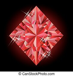 Casino banner with ruby diamonds poker element, vector...